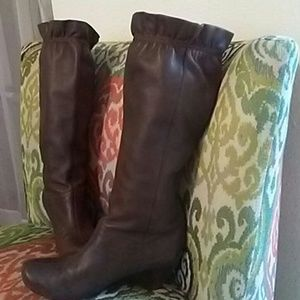 Brown ruffle wedge boots size 7.5